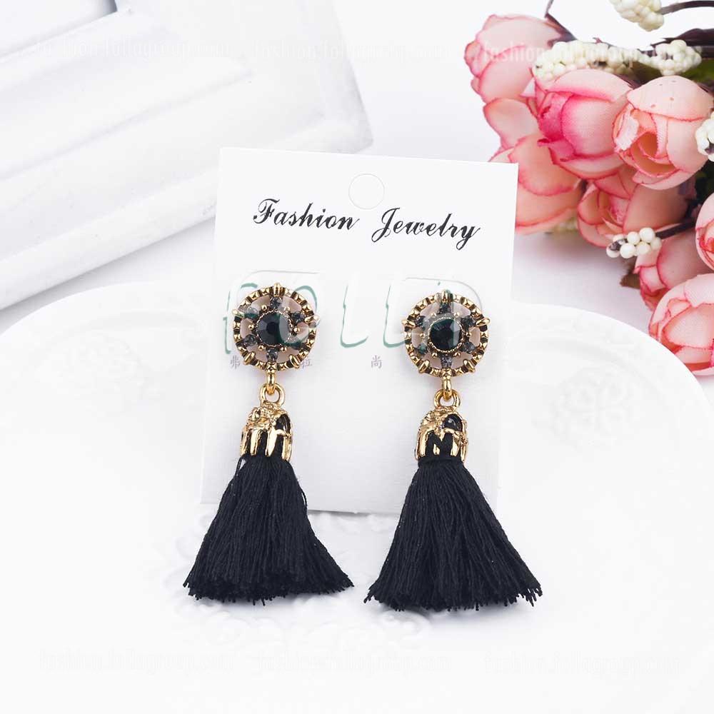 Vintage Tassel Drop Earrings - Black