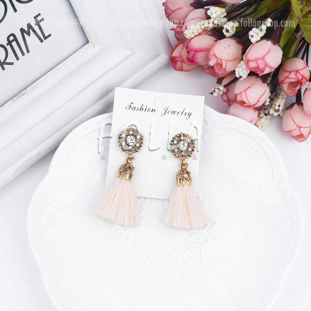 Vintage Tassel Drop Earrings - Beige