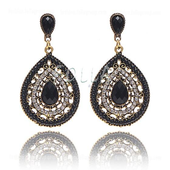 Vintage Bohemian Drop Earrings - Black
