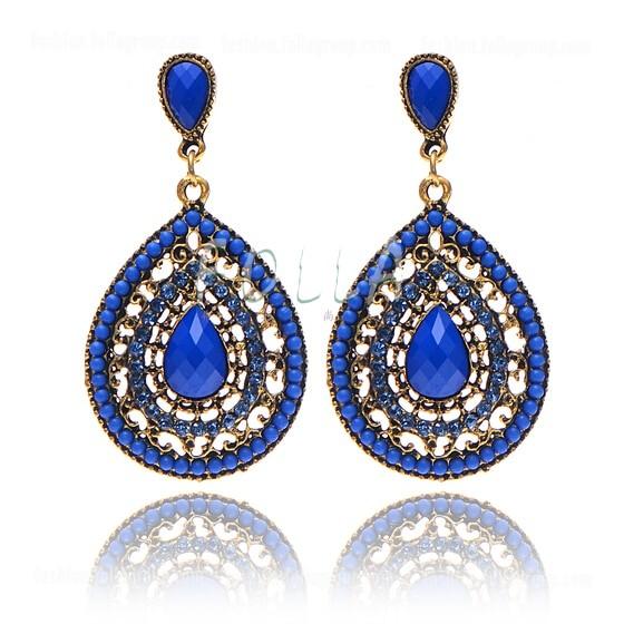 Vintage Bohemian Drop Earrings - Blue