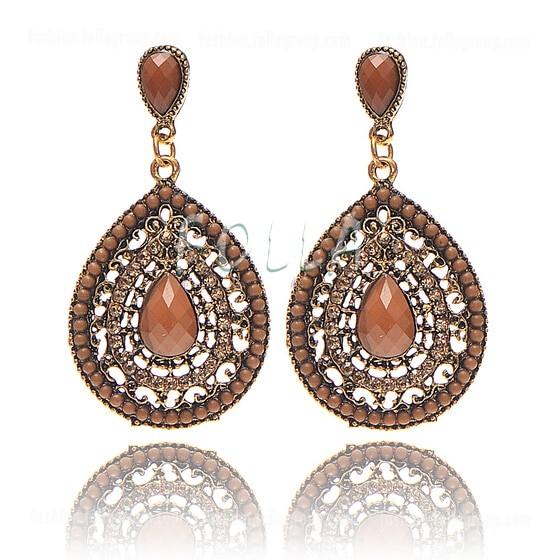 Vintage Bohemian Drop Earrings - Brown
