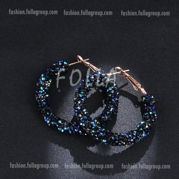 Crystals Hoop Earrings - Blue