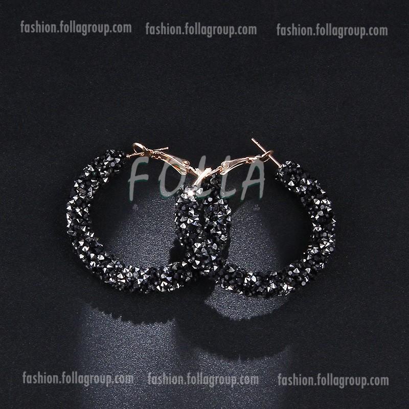 Crystals Hoop Earrings - Black