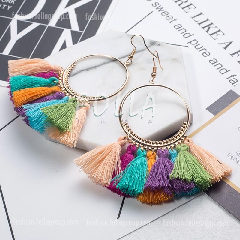Bohemian Tassel Drop Earrings - Colourful