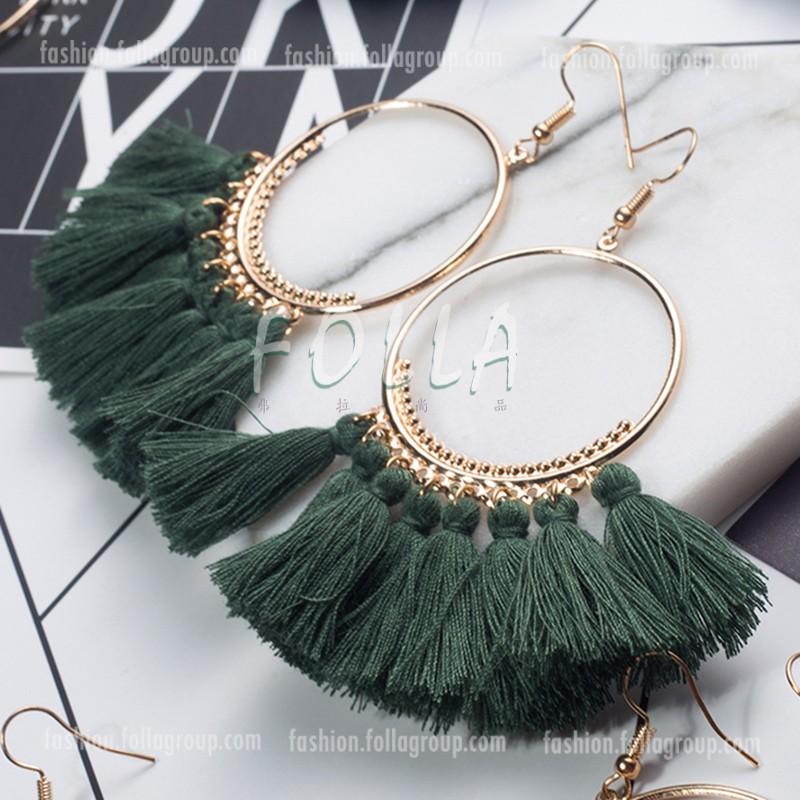 Bohemian Tassel Drop Earrings - Olive