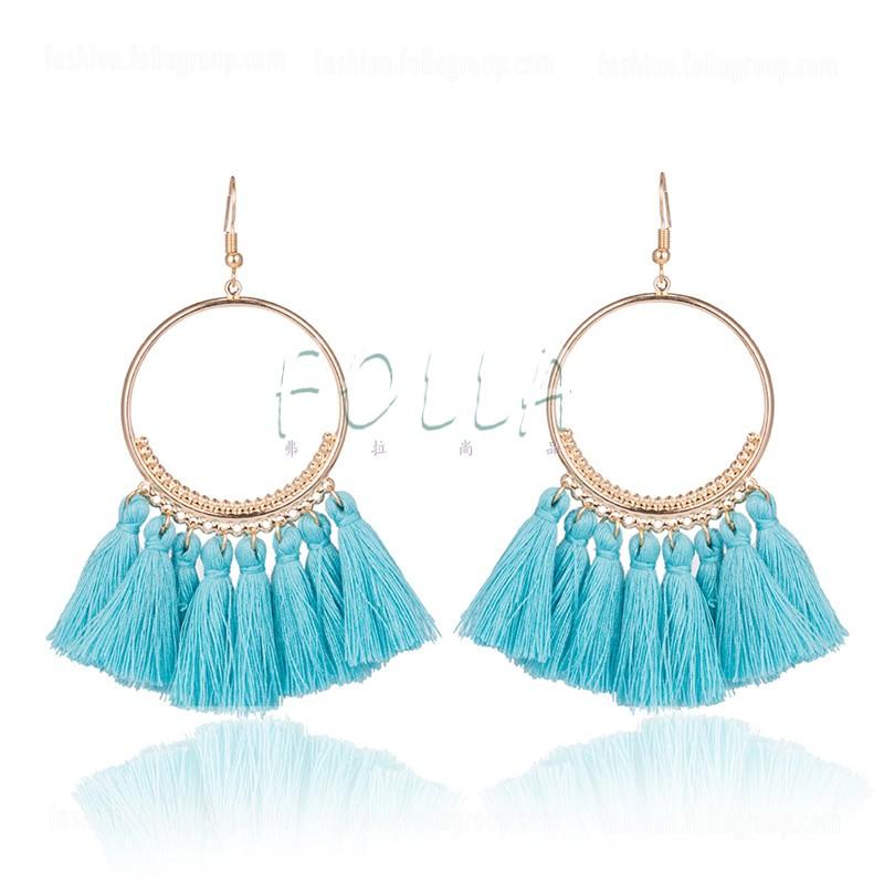 Bohemian Tassel Drop Earrings - Sky Blue