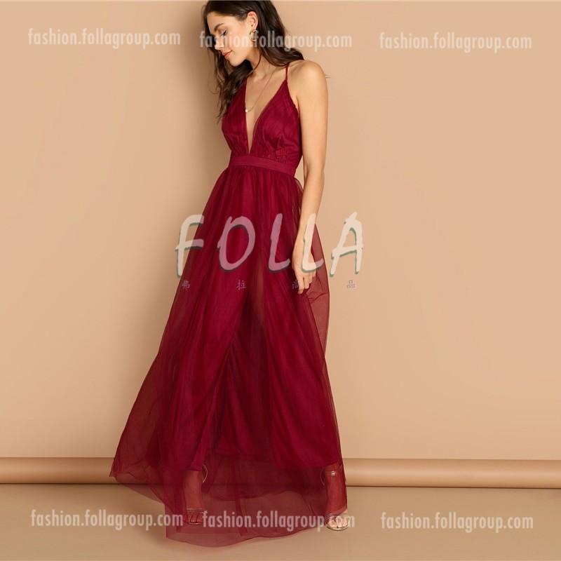 Women's Burgundy Evening Dress