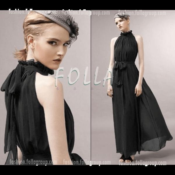 Chiffon Bohemian Long Dress - Black