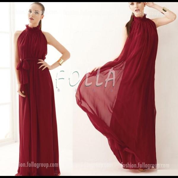 Chiffon Bohemian Long Dress - Dark Red