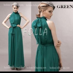 Chiffon Bohemian Long Dress - Green