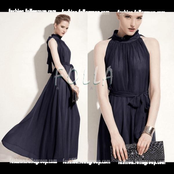 Chiffon Bohemian Long Dress - Navy Blue