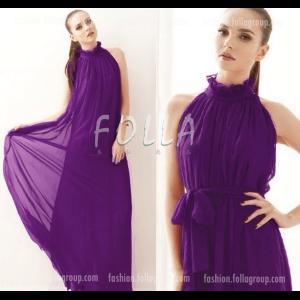 Chiffon Bohemian Long Dress - Purple