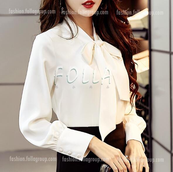 Korean OL Chiffon Top Shirts - White