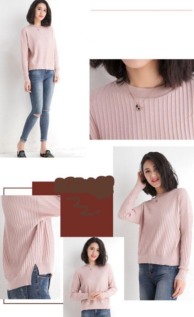 Korean Round Neck Loose Split Shirt - Pink