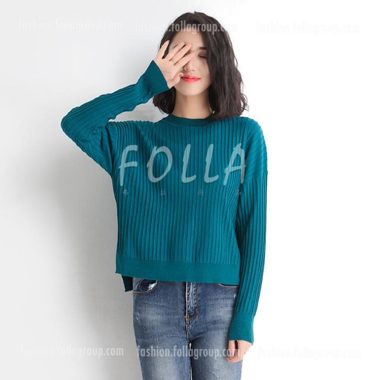 Korean Round Neck Loose Split Shirt - Green