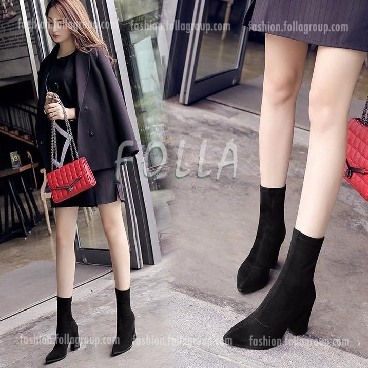 Women's Back Zipper Thick Heel Pointed Martin Boots