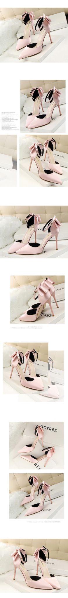 Women's Korean Fashion Hollow Back Bow Design High Heels