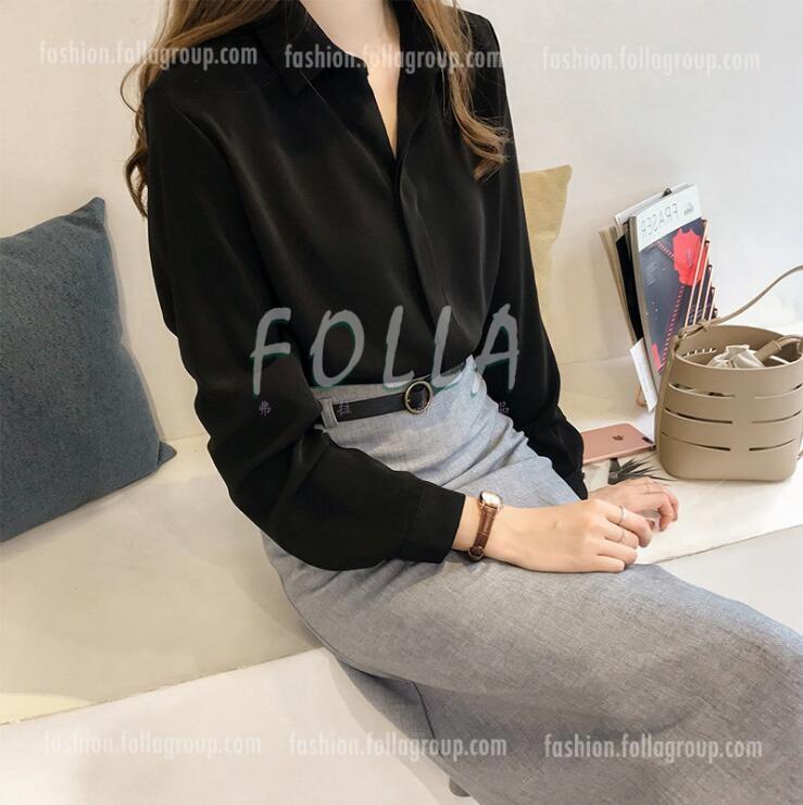 Women's Chiffon Buttonless Business Shirt - Black