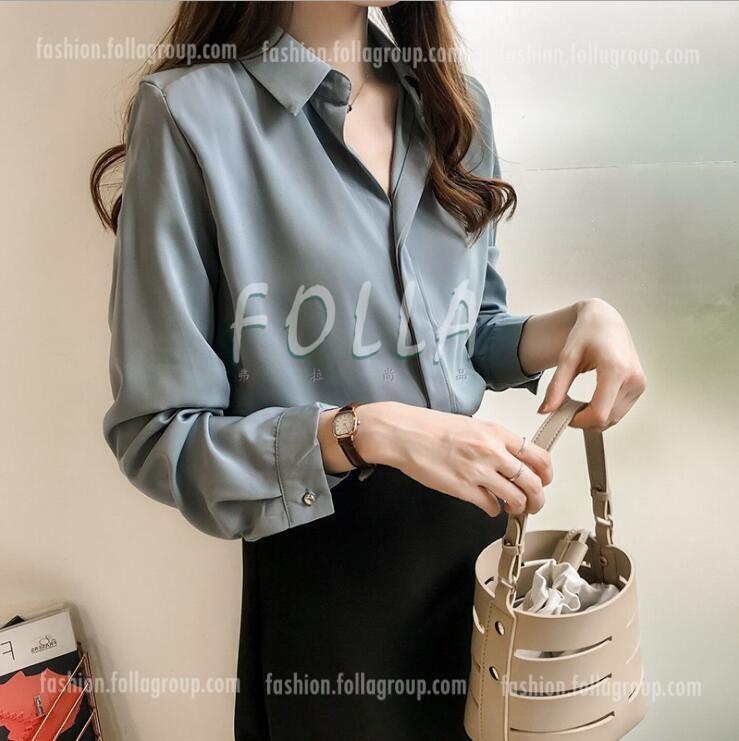 Women's Chiffon Buttonless Business Shirt - Grey