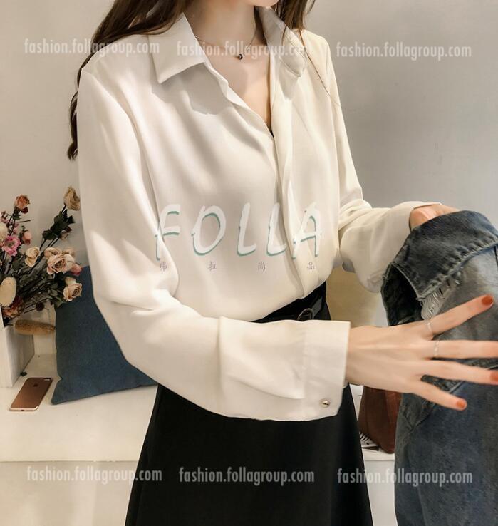 Women's Chiffon Buttonless Business Shirt - White