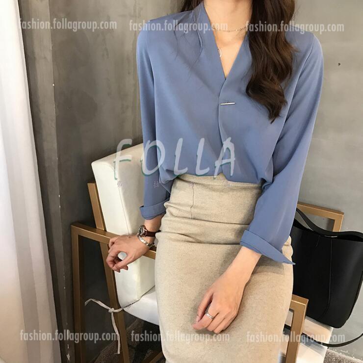 Women's Chiffon Pin Design Business Shirt - Blue
