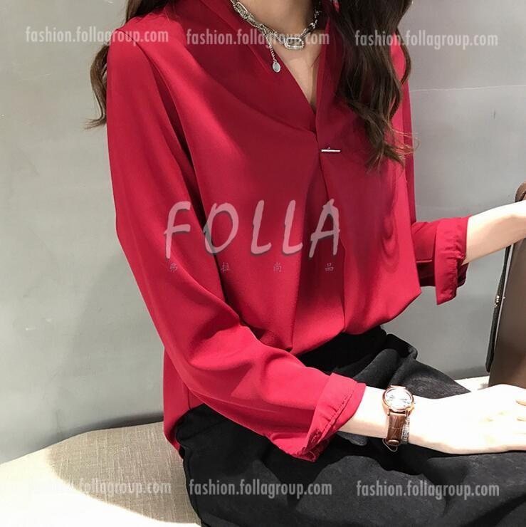 Women's Chiffon Pin Design Business Shirt - Red
