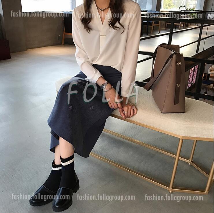 Women's Chiffon Pin Design Business Shirt - White