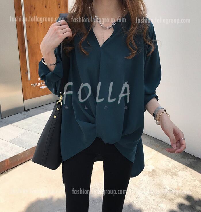 Women's Chiffon Loose-Fit Business Shirt - Dark Green