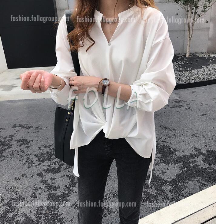 Women's Chiffon Loose-Fit Business Shirt - White